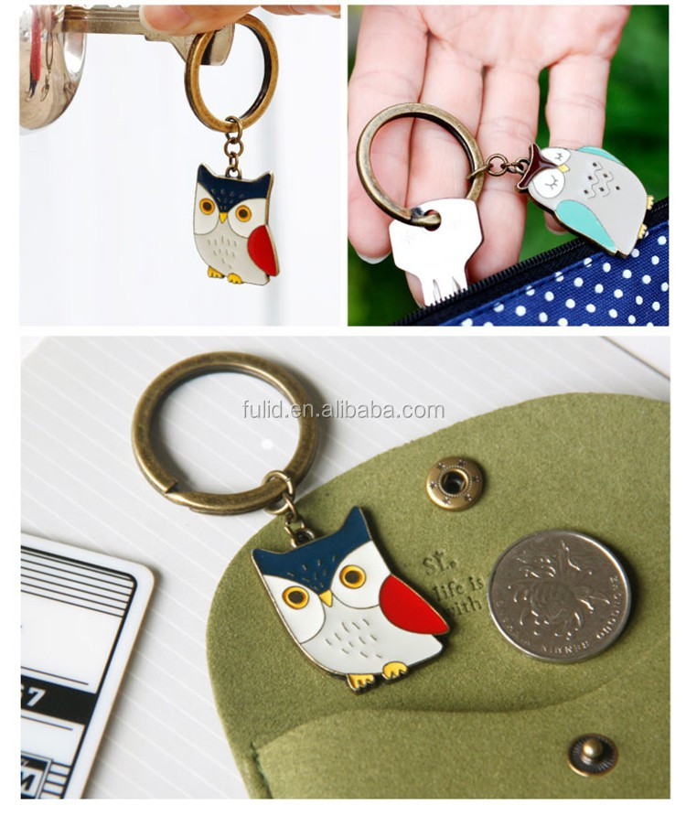 owl animal keychain, animal metal keychain, animal custom keyring