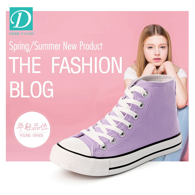 Casual High Top Shoes Canvas Girls Shoe