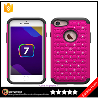 New products 2016 hot spot drill diamond Silicone+PC Football Pattern cell phone case for iPhone 7 back cover china supplier