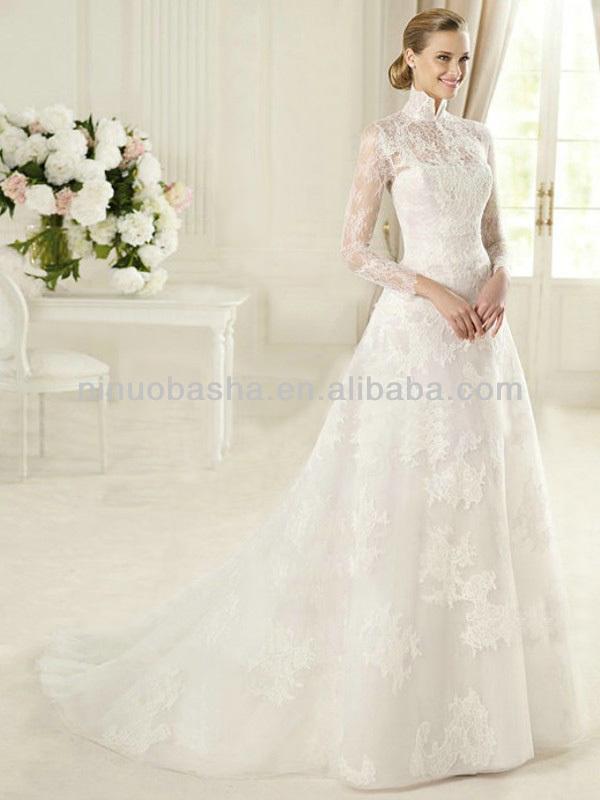 haute couture 2014 alta cuello pura manga larga de encaje vestidos