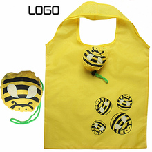 Cartoon Bee's Customized 190T Polyester eco-friendly reusable folding shopping bag