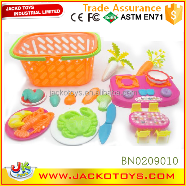 Basket packing plastic pretend play kitchen toy kids food toy set