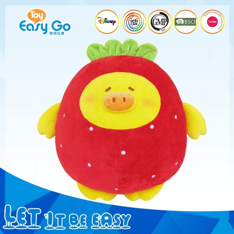 Mini Cartoon Yellow Pig Toys Wearing Strawberry Dress