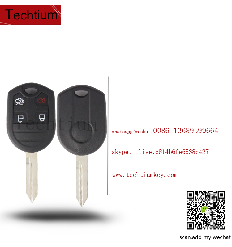 car key programming for Ford 4 button remote transponder car smart key with 4D63 chip 433Mhz
