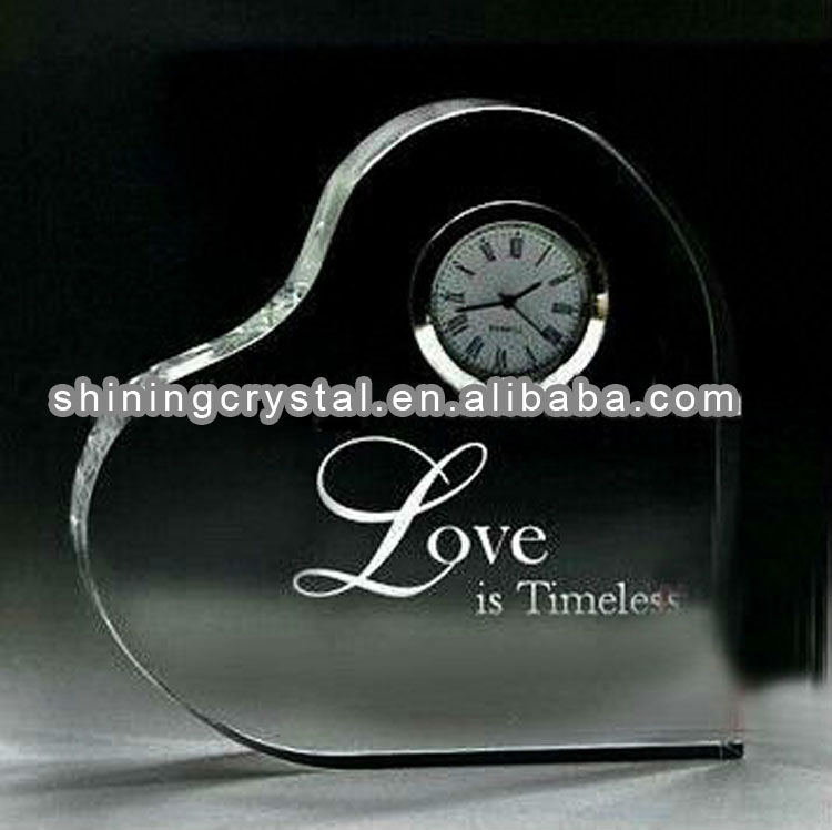wedding favor crystal heart clock for gifts