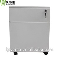High quality steel 2 drawer mobile pedestal filing cabinet used metal filing storage cabinet with wheels
