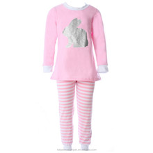 2017 easter baby girls bunny pajama outfit set,boutique girl clothing