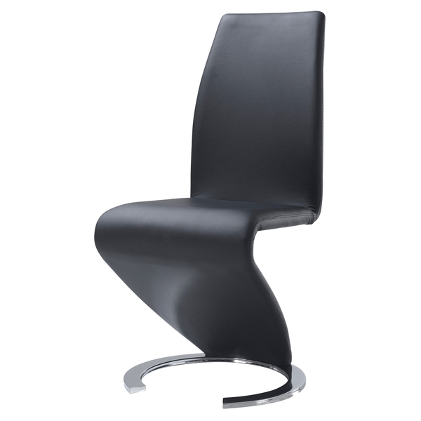Black leather z shape dining chair