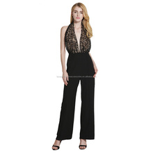 wholesale women clothes halter neck hollow out spliced sexy backless evening jumpsuits