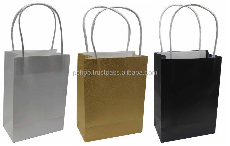"PAPER BAG TWISTED HANDLE SQ BOTTOM 5.5"" (LINEN ICE WHITE, ICE GALAXY GOLD, MIAMI ROYAL BLUE)"