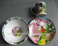 KCPL-048 Haonai ceramic plates and bowls with printing