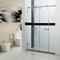 Bathroom Tempered Glass Floor Standing Shower Screen