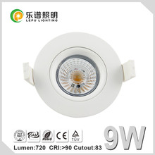 Hot selling Gyro 360deg tilt dimmable cob led downlight warm white 2700k with 83mm cutout 9W IP44