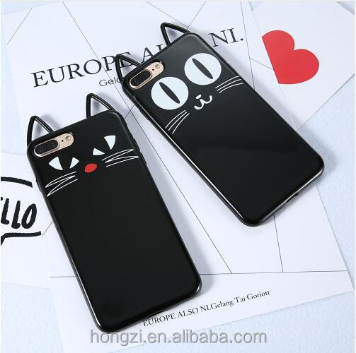 Cute 3D Black Cat Face Soft Silicone Phone Case For iPhone 6 6S 7 Plus 5 5S SE Full Protective Cover For iPhone 6 8 Case