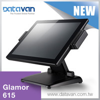 Scalable performance dual hinge design dual core ATOM D525 CPU 15 inch pos system for restaurant