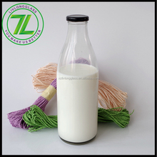 wholesale beverages industry use 1liter 1000ml clear glass milk bottles with black cap
