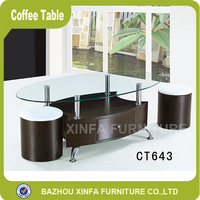 Popular glass top wooden body coffee table with two stools