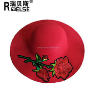Fashion lady women felt floppy hat with flower for winter