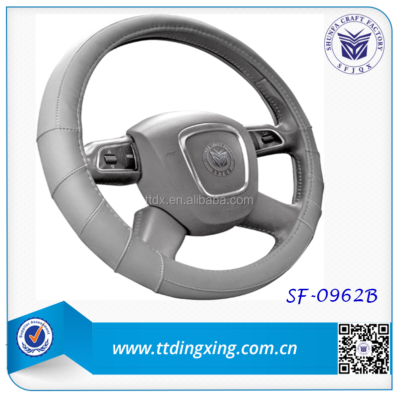 new style fashionable automobile interior accessories grey real leather spining steering wheel covers from factory