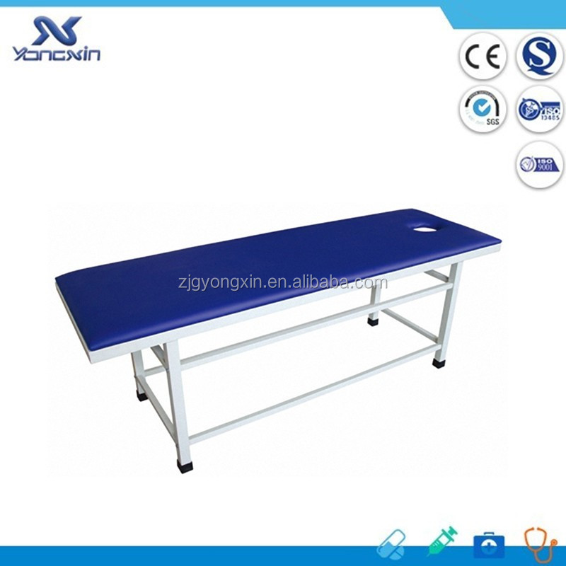 YXZ-3A Blue artifical leather mattress medical flat bed manual simple exam table