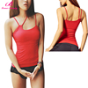 No Moq Women Red Three Straps Sleeveless Top Fashion Girl Fitness T Shirt
