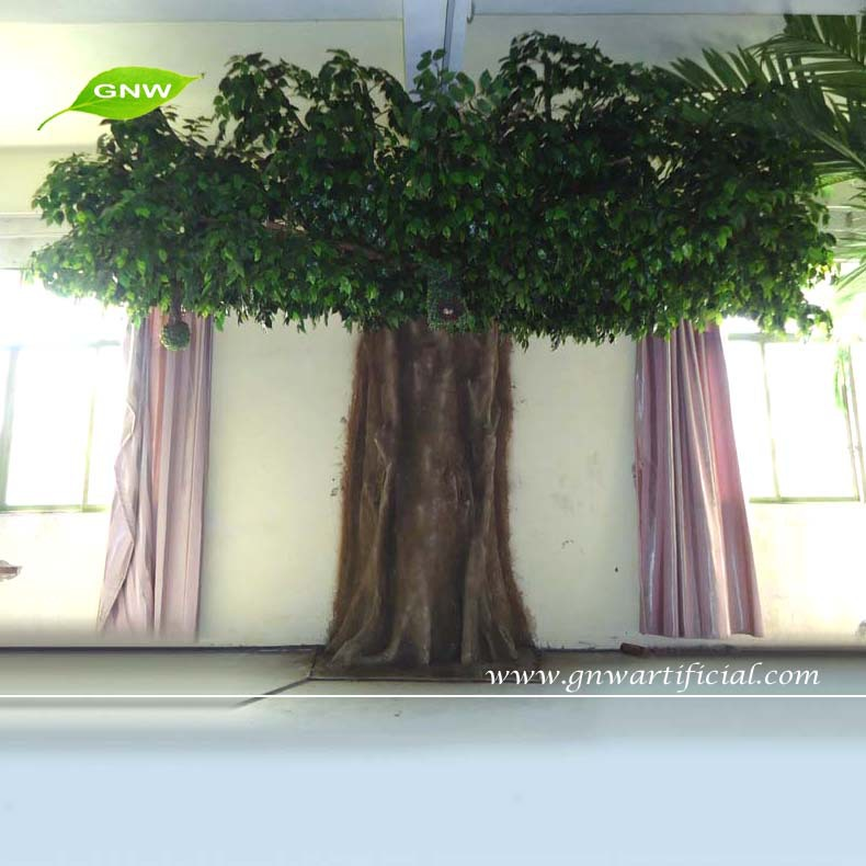GNW BTR056 indoor home decorative artificial teak trees pots for ornament sale