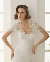 Charming 2014 Sweetheart Lace Mermaid Wedding Dresses With a High Neck Short Sleeve Bolero Jacket Church Bridal Gowns NB003