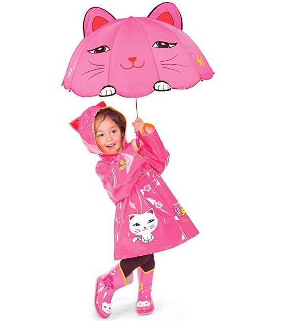 Customized Design Cute Pink Cartoon Cat Kid Bubble Umbrella for Kids