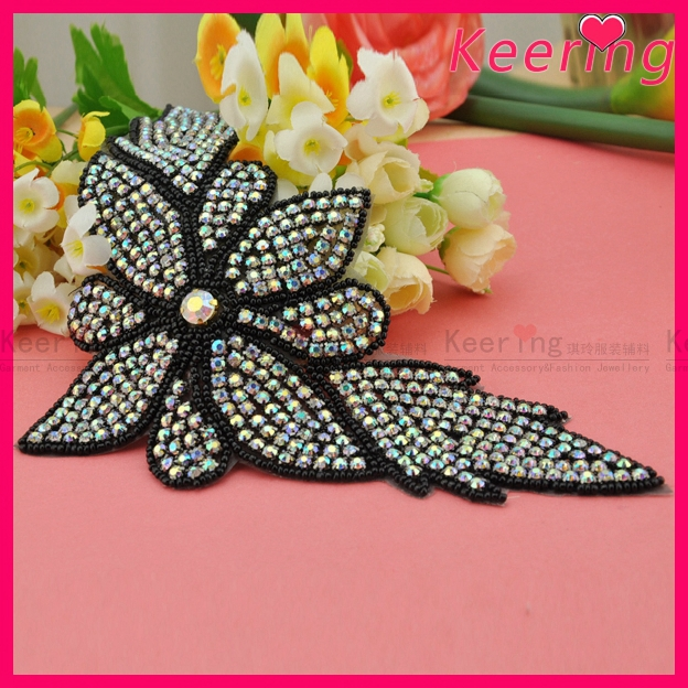Fashion black AB color stone Sash beaded bridal sewing appliques WRA-425