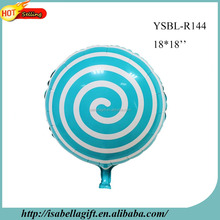light blue color sweety lollipop shape 18 inch round shape mylar foil balloon for wholesale