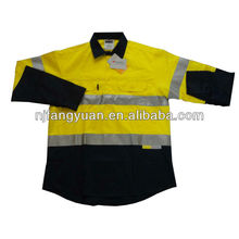 DFW-P1027 100% cotton <strong>Safety</strong> Men's Long Sleeve Reflective Job Shirt