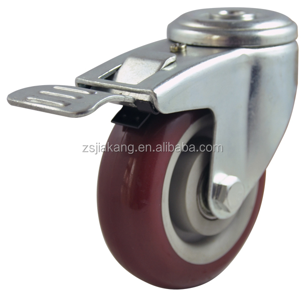 Mediun duty PU/PVC screw type caster wheel for pallet dolly