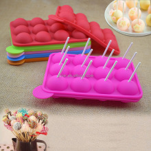12-Cavity Silicone Lollipop Mold Tray Pop Cake Stick Mould for Party