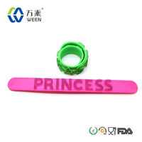 Food grade FDA approved silicone bracelet slap band, silicone snap band, silicone rubber slap band