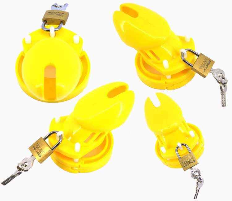 Yellow CB6000S PlasticChastity cage,Penis rings Cock lock,Sex products for men penis prevent masturbation dick bandage