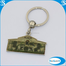 metal house shape printing epoxy souvenir key chain