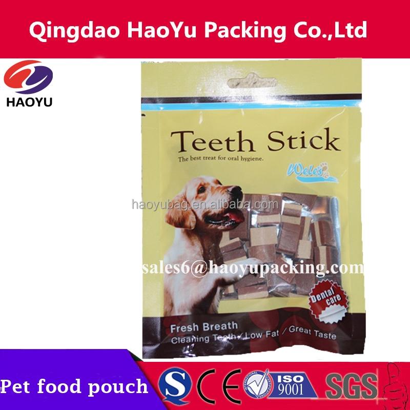 Pet dog teeth stick pouch/laminated stand up ziplock pet treat bag