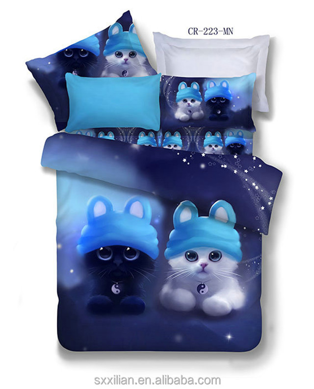 100% cotton 3D printed wholesale lovely cat Bedding set