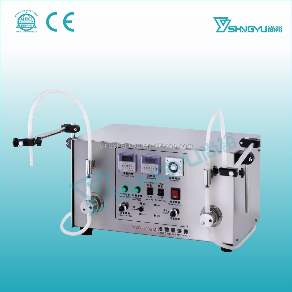 Double filling nozzles 10ml semi automatic vials liquid filling machine from Guangzhou factory