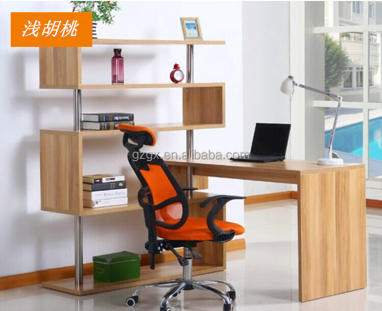 2015 New Design S-shape 270 degree rotation home office table with shelf