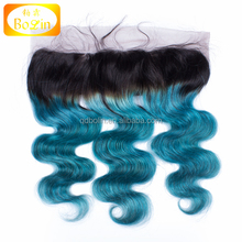 Brazilian Ombre Body Wave Closure 13x4 Virgin Hair Ombre 1B/Blue Lace Frontal Closure With Baby Hair ear to ear lace frontal