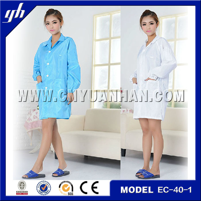 Antistatic ESD Clean room clothing overcoat smock/comfortable cleanroom esd protective clothing