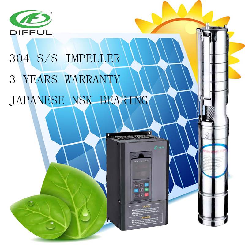 3 inch saving energy solar powered tube well magnet dc submersible water pump