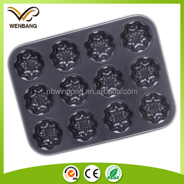 Carbon steel microwave baking muffin pan with flower shape