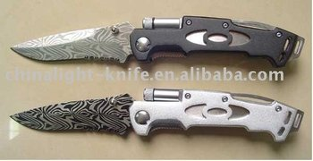 Aliuminum handle led light folding knife