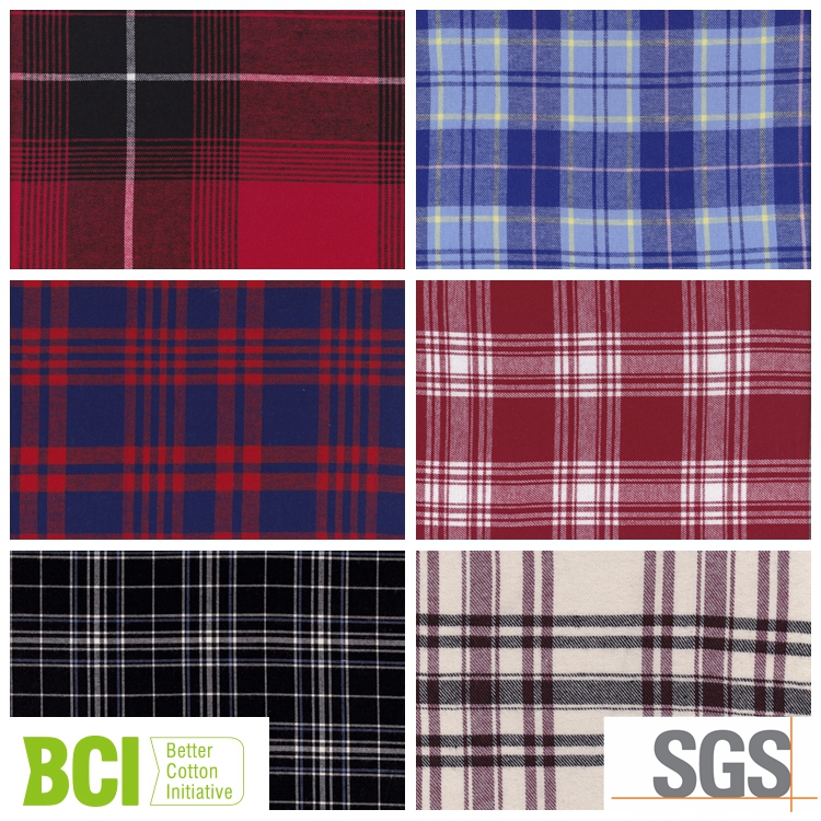cotton brushed flannel shirting fabric for woman