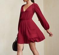 Custom design elegant long sleeve red dress/party short evening fashion clothing