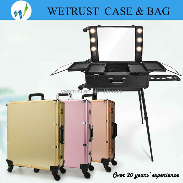 Light cosmetic case with trolley and wheels with strong packing and excellent quality