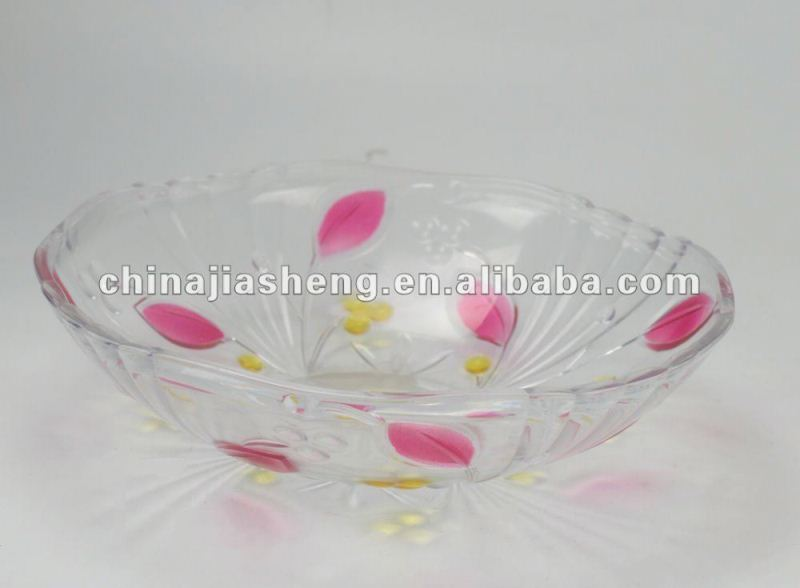 plastic pink and shape leaf plate