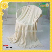 Graceful 100% Acrylic Shawl Knitted Jacquard Hollow Out Ladies Pashmina With Tassel